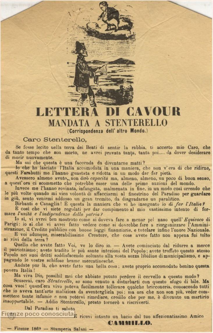 LETTERA di Cavour mandata a Stenterello (corrispondenza dell'altro Mondo). Firenze, Stamperia Salani, 1869,