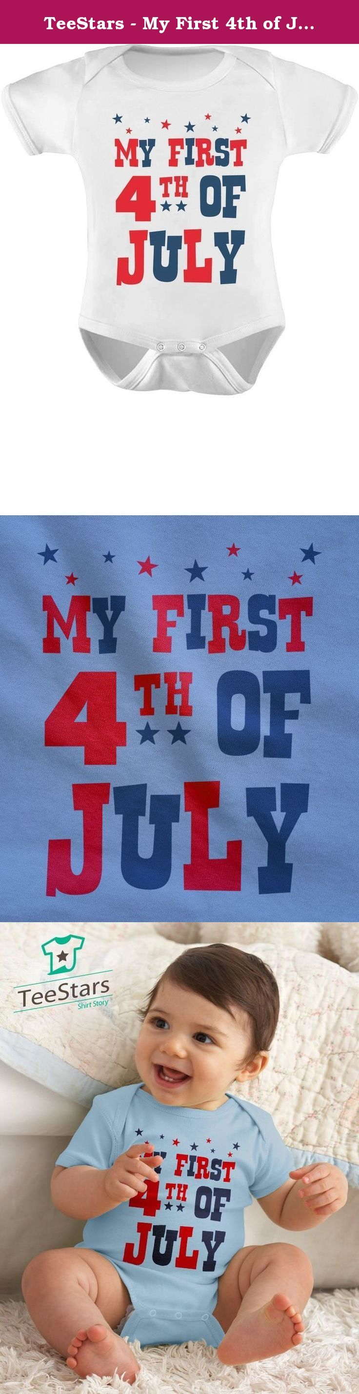 TeeStars - My First 4th of July Bodysuit Independence Day Gift USA Baby Onesie 6M White. Best gift for the first 4th of July for your baby boy or baby girl. Cute little onesie to wear for U.S Independence Day celebrations. Premium quality, short sleeve baby onesie. 100% combed-cotton (preshrunk,) machine washable, cozy one-piece for your baby! overlapping expandable shoulders and three-snap closure at the bottom to make changing as smooth and easy as possible. Available in a wide variety…