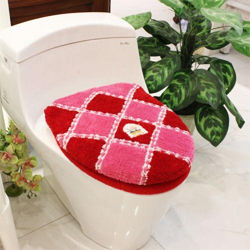 New Fashion Huiduo Soft Flock Printing Toilet 2pcs Set Toilet Seats Cover Bathroom Warmer Toilet Sets Toilet Mat Potty Pad Set