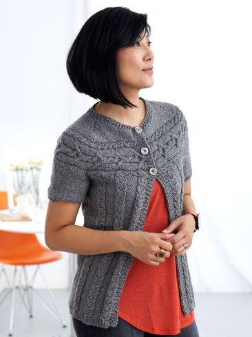 Cardigan with Cabled Yoke | Yarn | Free Knitting Patterns | Crochet Patterns | Yarnspirations
