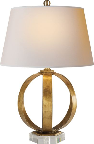 Metal banded table lamp in gilded iron with natural paper shade x base hexagon shade x x featured finish gilded iron socket dimmer wattage 150 a
