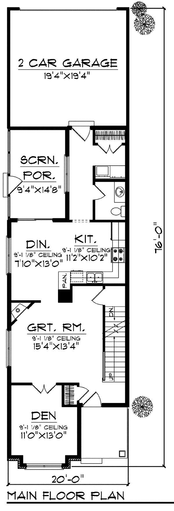 Best 25 narrow house plans ideas on pinterest narrow for Shotgun house floor plan