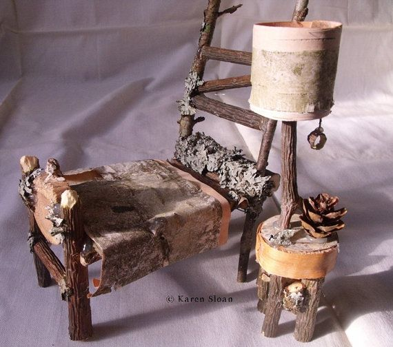 #Fairy Furniture Bed & Night table with lamp - by Cottage Botanicals, $19.50 #handmade #ooak