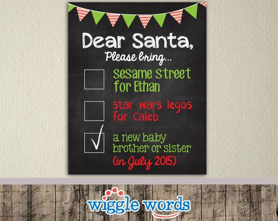 Christmas Pregnancy Announcement, Sibling Announcement for Third Baby by WiggleWords on Etsy