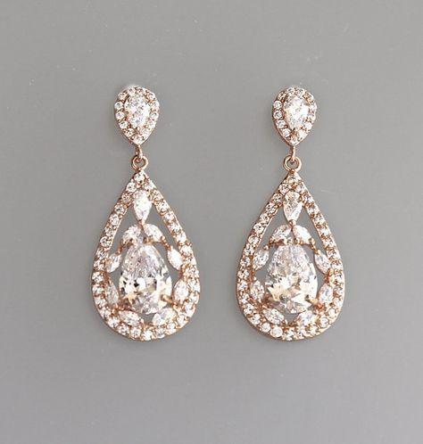 Rose Gold Crystal Teardrop Bridal Earrings, Pink Gold Crystal Vintage Wedding Drop Ohrringe, Clip über Option COCO RG