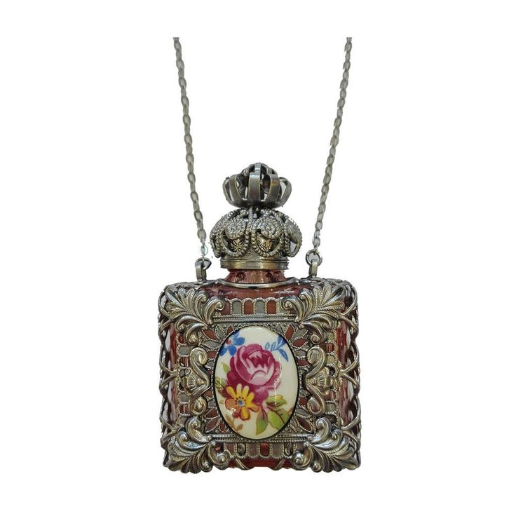 Czech Victorian Flower Decorative Perfume Oil Holy Water Bottle Holder Necklace