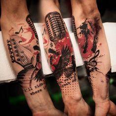 Trash Polka tattoo microphone keyboard