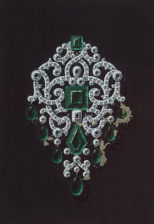 emerald brooch, tzarina jewelry design.
