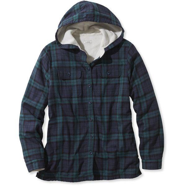 L.L.Bean Fleece-Lined Flannel Plaid Hoodie ($74) ❤ liked on Polyvore featuring tops, hoodies, hooded sweatshirt, hoodie shirt, shirt hoodies, lined flannel shirt and fleece lined flannel shirt
