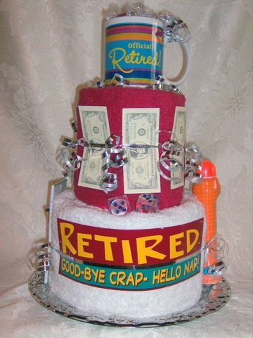 pictures of retirement diaper cakes | Availability: in stock