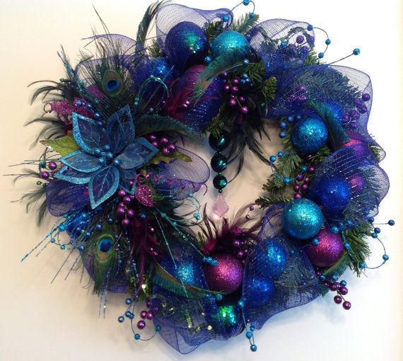 Blue Accent Peacock Wreath by CustomCreationsMore on Etsy, $79.99