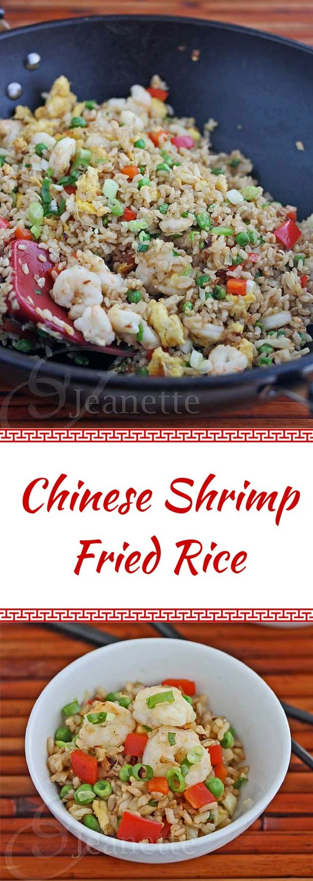 Chinese Shrimp Fried Rice - this is so much better than take-out - you've got to try it! ~ http://jeanetteshealthyliving.com