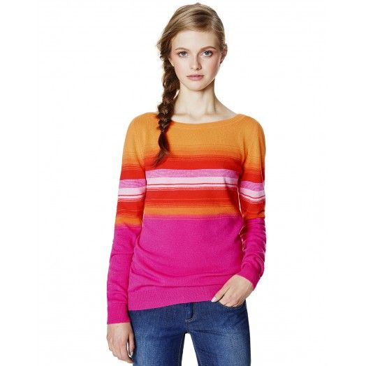 Sweater with horizontal stripe motif in varying faded colors, with a soft and embracing characteristic defined by its soft wool blend. The boat neck with Ottoman workmanship serves up a feminine touch. The sweater is available in two models: the first delves into shades of orange and red and the second alternates between blue and green, making for a tough look.