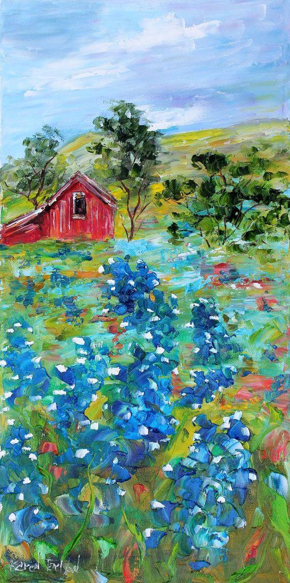 Original oil painting TEXAS BLUEBONNET LANDSCAPE palette knife impressioniistic fine art by Karen Tarlton