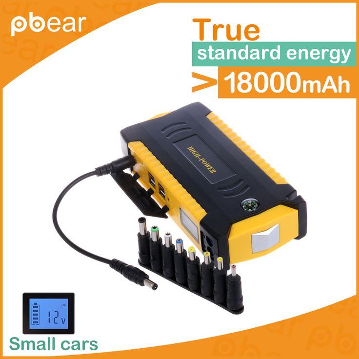 4 usb charger warning light emergency safety hammer Car Jump Starter Portable 18800mAh 12V Battery Power Bank compass