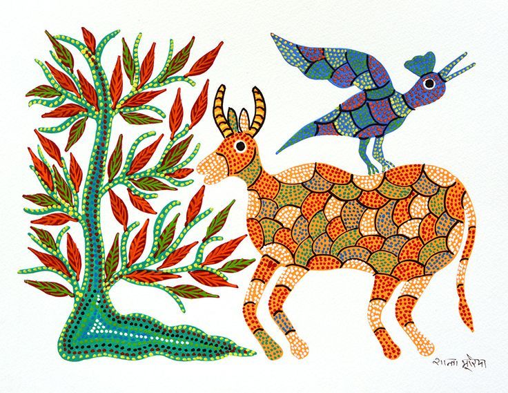 Deer and Bird by Shanta Bhuriya : FolkPaintingsIndia