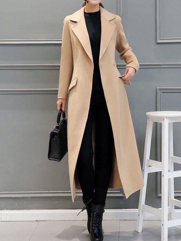 $35.16 Wool Blend Belted Longline Walker Coat