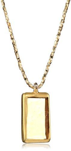 """Yummi Glass 24k Gold-Painted Murano Glass Yellow-Color Medium Rectangle Pendant Necklace Yummi Glass. $129.04. Strung at 20"""". Made in Italy. Hand-made Murano glass necklace on matching gold sparkle ribbon and a sterling toggle. Canary medium classic necklace with 24k gold paint outline"""