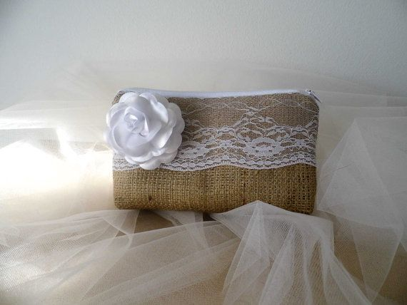 Rustic burlap and lace bridesmaid clutch by MelindasSewingCorner