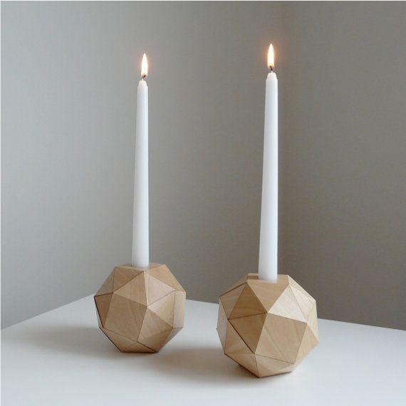 Geometric Wood Candlesticks