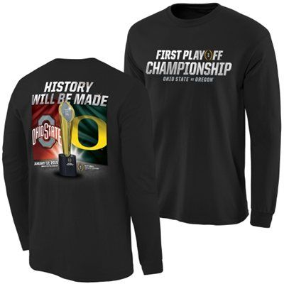 Ohio State Buckeyes vs. Oregon Ducks Black 2015 College Football Playoff National Championship Dueling Trophy Quest Long Sleeve T-Shirt