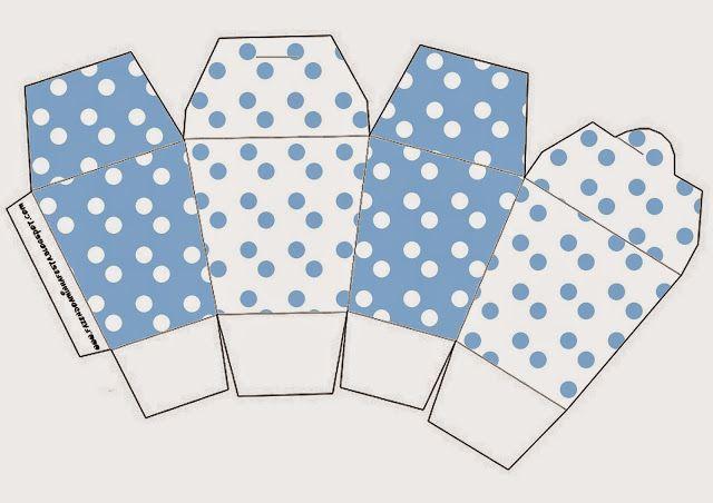 Light Blue with White Polka Dots:  Free Printable Boxes.