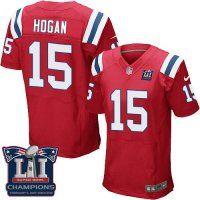 Men's New Engalnd Patriots #15 Chris Hogan Red Alternate Super Bowl LI Champions Nen Elite Jersey