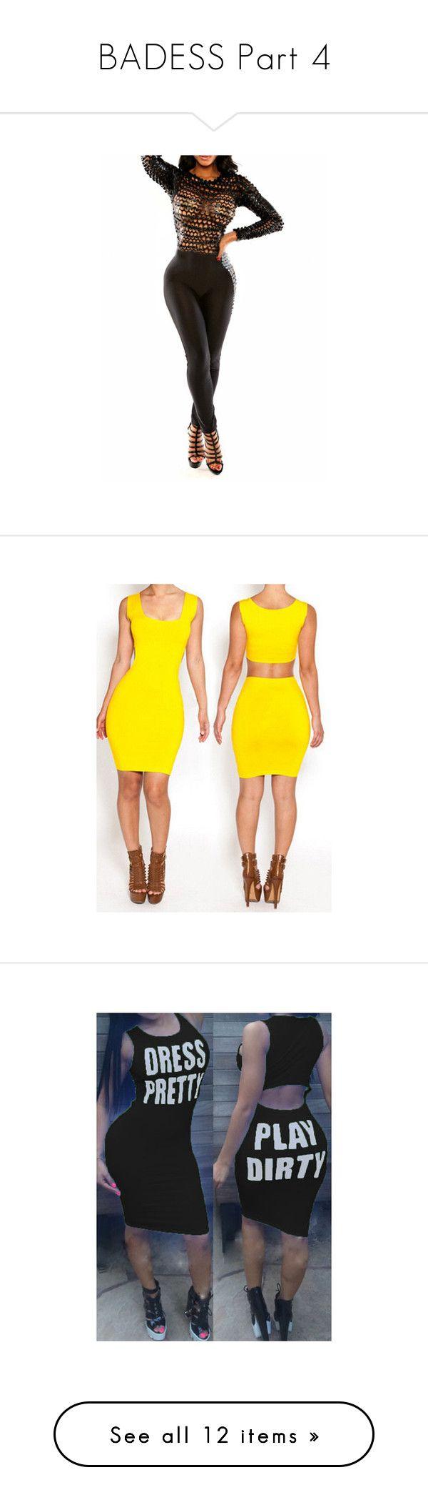 """BADESS Part 4"" by blacke-nyla-alsina ❤ liked on Polyvore featuring jumpsuits, black, skinny jumpsuit, long sleeve jump suit, skinny leg jumpsuit, spandex jumpsuit, jump suit, dresses, yellow and yellow mini dress"