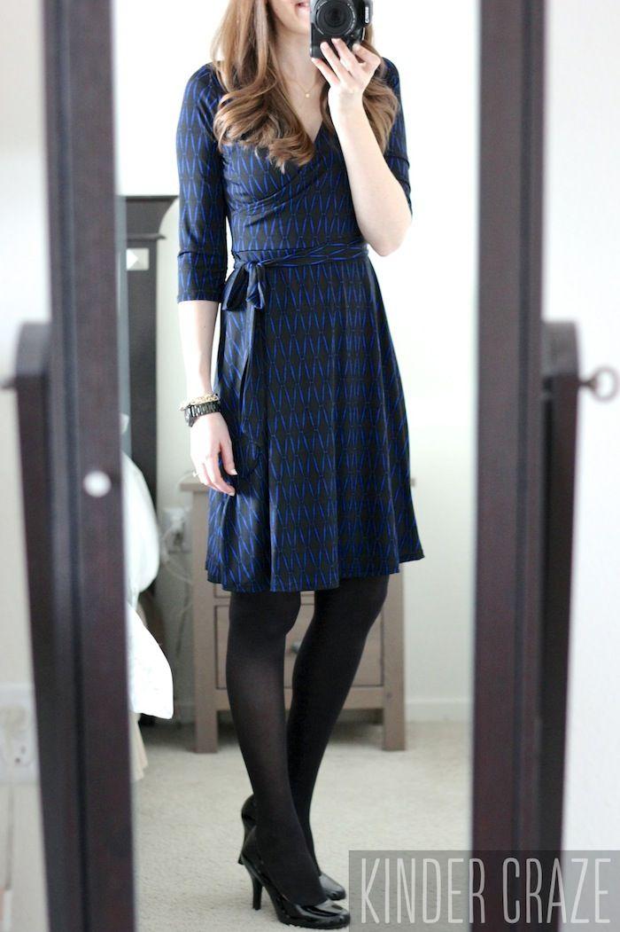 Stitch Fix love this dress!!! black and blue Renesme Geo Print Faux Wrap Dress from Stitch Fix #stitchfix #fashion