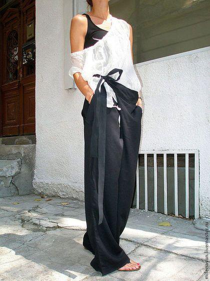 Свободные черные льняные брюки - хлопок,лен,льняные штаны,льняные брюки