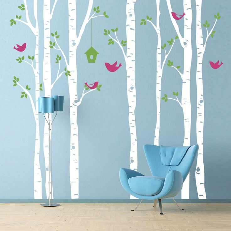 Birch Trees Wall Decal With Birds   Extra Large Wall Mural   Nursery, Office,  Kids Room, Bedroom Decor