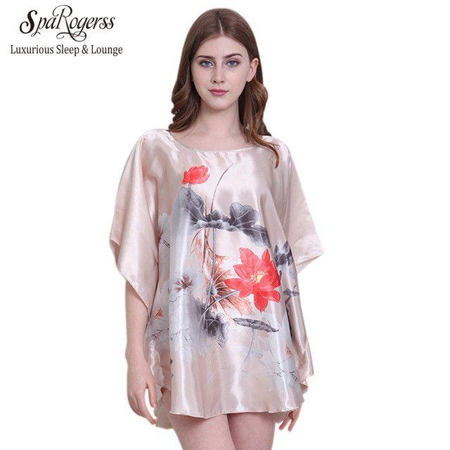 Women Sleep shirt New Pattern Fashion Lady Nightgowns Faux Silk Sleep Lounge Female Dressing Gowns