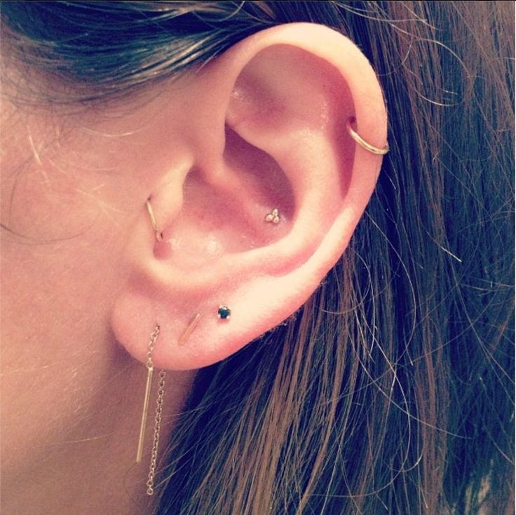 lobe threader and studs, tragus ring, conch stud and cartilage ring.