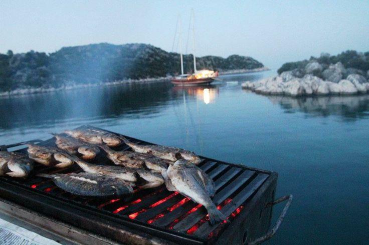 BBQ Fish on Gulet cruise Turkey