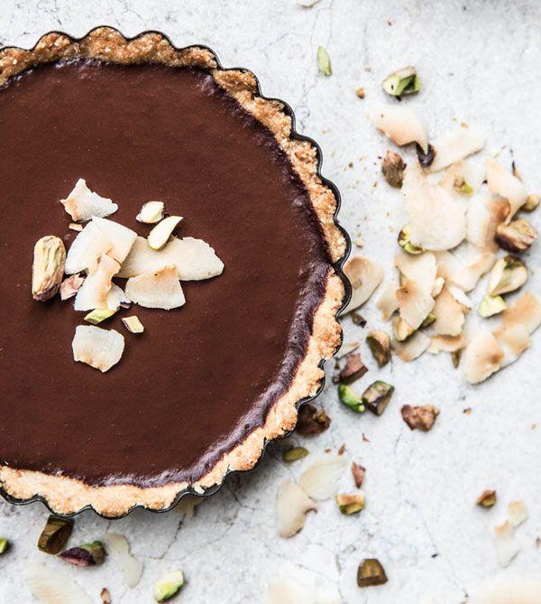 Coconut + Chocolate Pistachio Tart