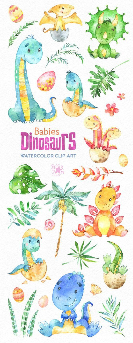 This cute Clipart set with Little Dinosaurs is just what you needed for the perfect invitations, craft projects, paper products, party decorations, printable, greetings cards, posters, stationery, planners, scrapbooking, stickers, t-shirts, baby clothes, web designs and much more.  :::::: DETAILS ::::::  This collection includes: - 30 Images in separate PNG files, transparent background, different size: 11.6-2in (3500-600px)  300 dpi, RGB  Another set with Dinosaurs: https://www.et...