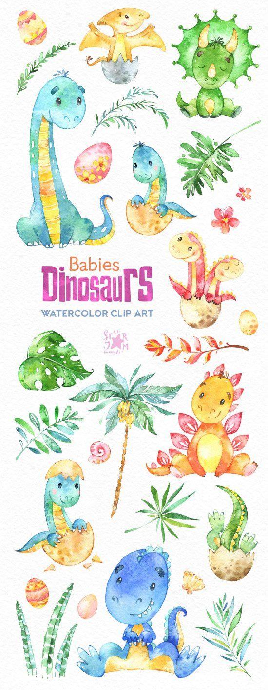 Bebés dinosaurios. Prediseñadas de acuarela por StarJamforKids