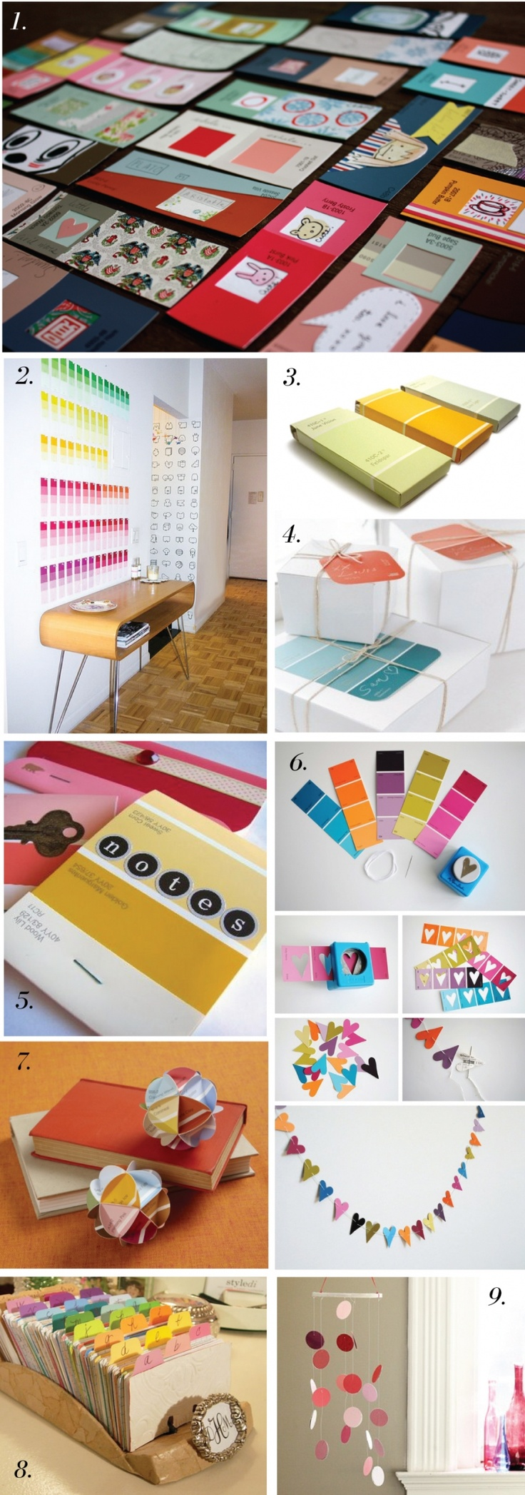 Paper craft using paint swatches...  http://deluxemoderndesign.com/blog/2011/05/something-from-nothing/