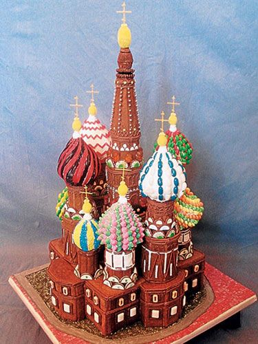 Lemon drops and licorice twists unite to complete St. Basil's Basilica... cannot believe this is gingerbread!  wow!