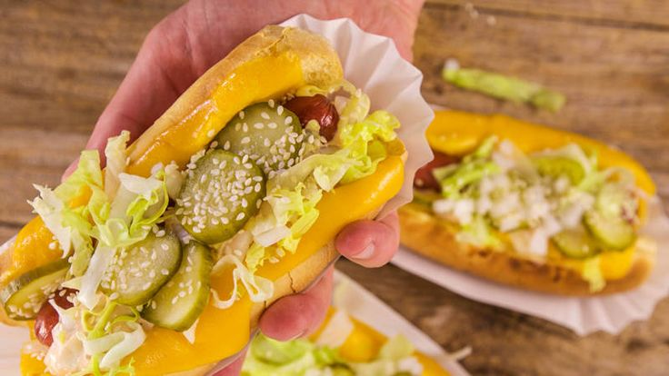 Two summertime favs in just one bun!  Cheeseburger Hot Dogs