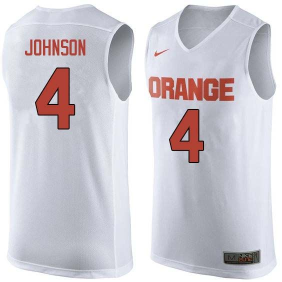 Men 4 Wesley Johnson Syracuse White College Basketball Jerseys Sale White With Images College Basketball Jersey Basketball Jersey
