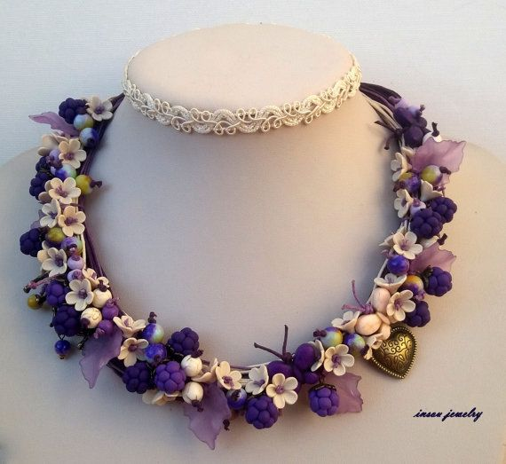 Plum necklace  Berries  Multi strand necklace  by insoujewelry