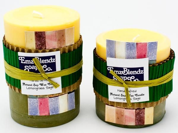 Lemongrass Sage - 100% Pure Soy Wax Pillar Candle - Naturally Handcrafted