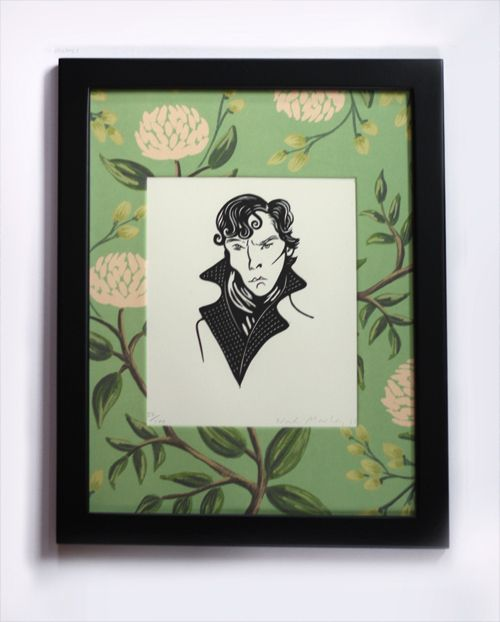 I'm getting a huge kick out of this funny linocut of Benedict Cumberbatch as Sherlock Holmes. The portrait is an original print by Nick Morley; read more about Nick's work here. If you've seen the TV