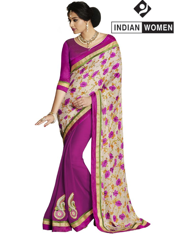 #Alluring Multi-Colour!!  #Multi Color Satin & Georgette Floral Print Half And Half Saree  INR 1125.00 Only  Grab @ http://goo.gl/yPAeSr