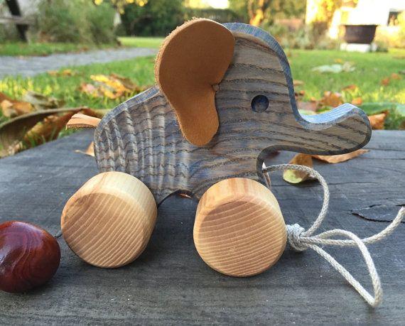 Big Wooden Toy ElephantPull Along ToyBirthday by WoodenFrogLV