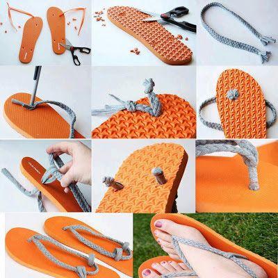 Tejido Facil: Paso a Paso: Sandalias de verano reciclando ojotas...
