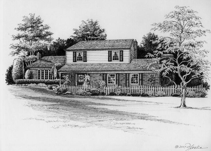 Pen & Ink custom house portrait of  Pennsylvania suburban home. Created by Richelle Flecke