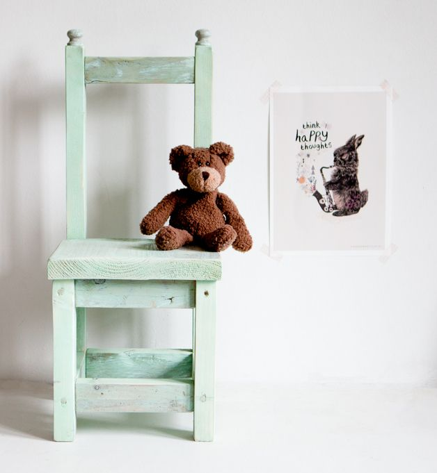Bunter Stuhl fürs Kinderzimmer in Shabby Chic / shabby chic chair painted in mint green made by I am Recycled via DaWanda.com