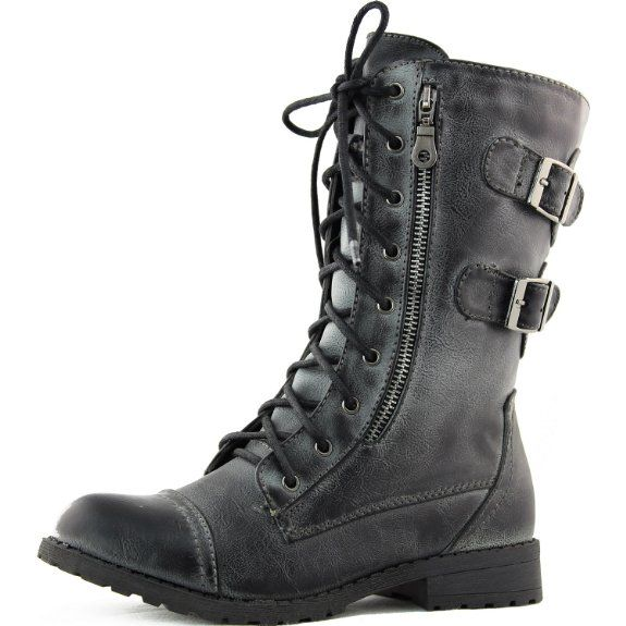 Fantastic Womens Knee High Lace Up Buckle Fashion Military Combat Boots PU